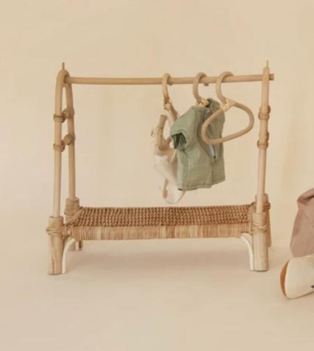 kids Olli Ella Rattan Doll Clothing Rail Rack - brown