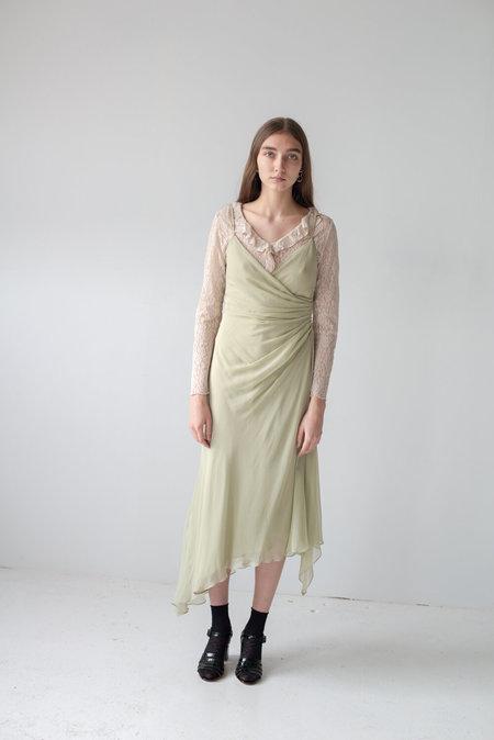 VINTAGE Ruched Uneven Hem Dress - sage