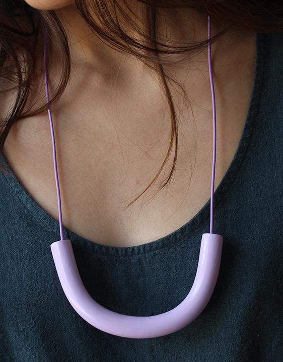Surface Handmade Lavender Cylinder Necklace