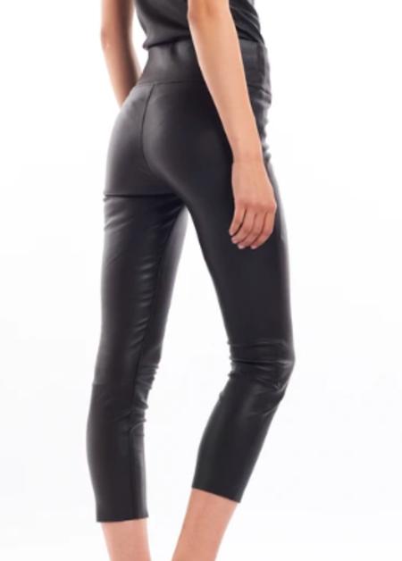 SPRWMN High Waist Leather Capri - black