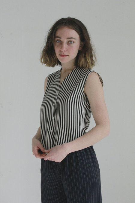 Vintage Cabaret Stripe Silk Vest - black/white