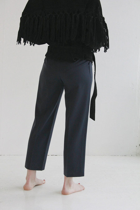 Vintage Wool and Silk Pleated Trouser - Navy
