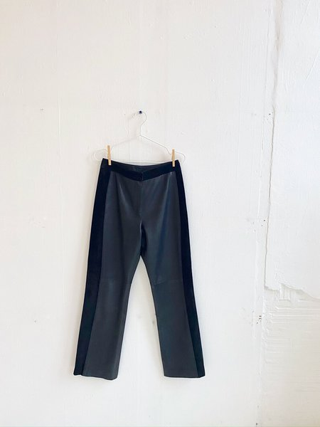 Vintage Paneled Leather and Suede Pants - black