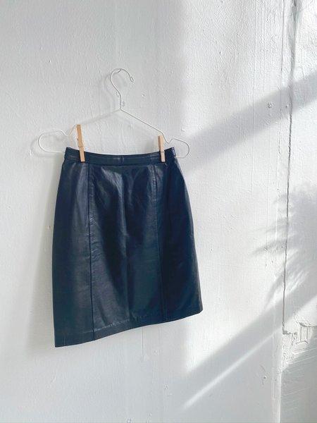 Vintage Kate Moss High Waist Leather Mini Skirt - Black