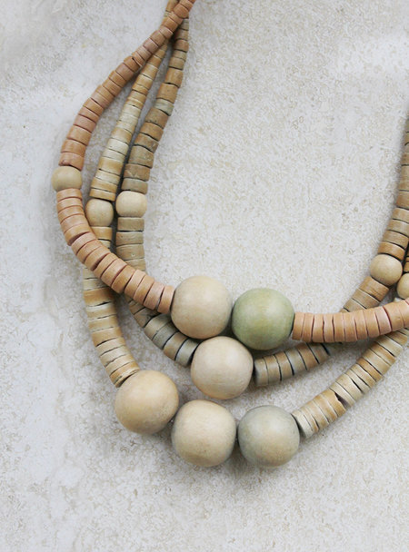 Vintage Muted Wood Bead Tiered Necklace