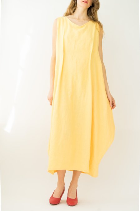 Vintage Backtalk PDX Linen Dress - yellow