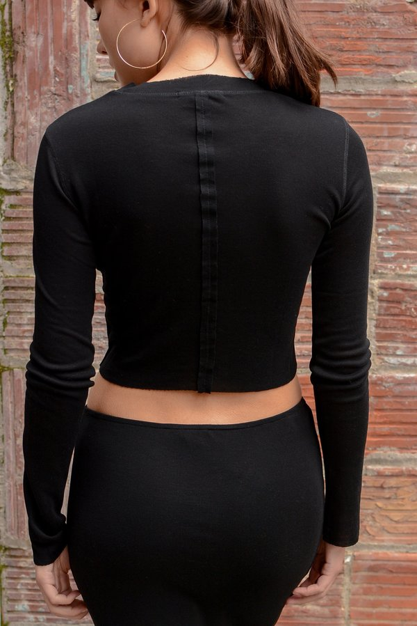 Beautiful People Tencel Rib Long Sleeve Crop Top - Black
