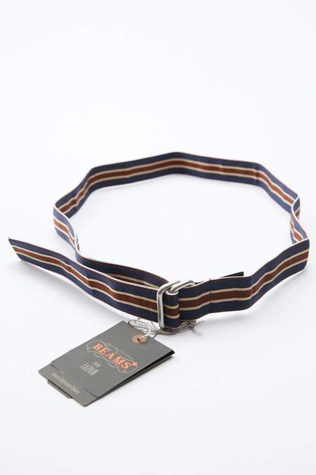 Beams Plus Grosgrain Tape Double Ring Belt - NAVY