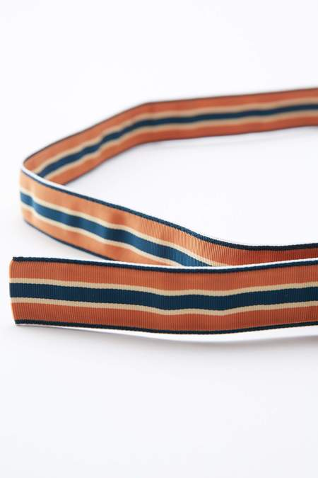 Beams Plus Grosgrain Tape Double Ring Belt - ORANGE