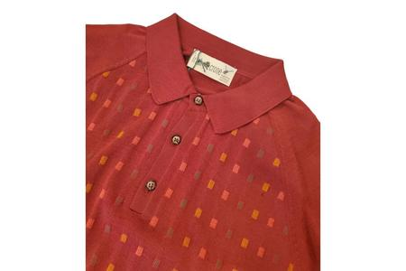 Irish Crone Knit Polo With Multicolor Square Pattern