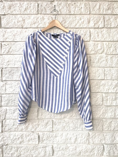 Smythe Triangle Bib Blouse - BLUE/WHITE