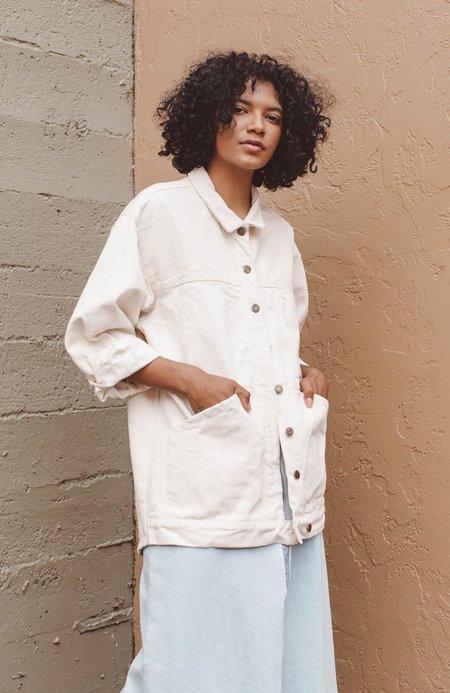 Kate Towers painted oversized denim jacket - CREAM