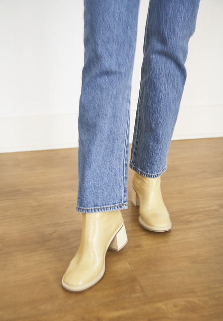Miista Cybil Crinkled Leather Boots - Beige