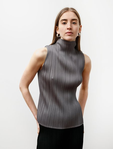 Pleats Please High Neck Sleeveless Top - Silver Grey