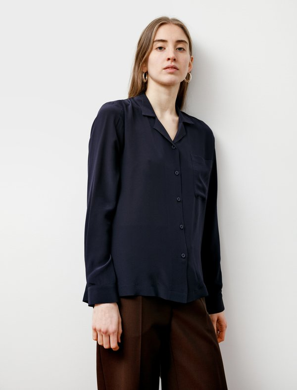 Sunspel Pyjama Collar Shirt - Navy