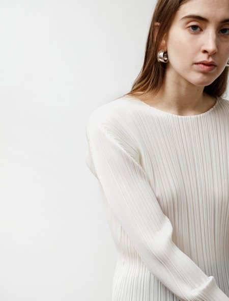 Pleats Please Round Neck Long Sleeve Top - Creme