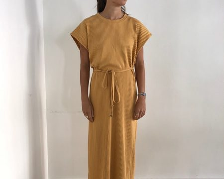 Baserange Fleece Rib Shaw Kaftan Sleeveless Dress - Laburnum Yellow