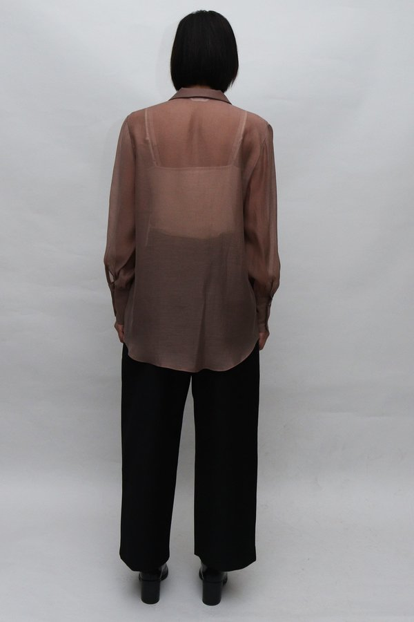 W A N T S Sheer Utility Blouse - Brown