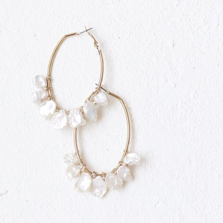 a. bellie Freshwater Pearl Oblong Hoops