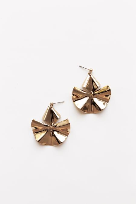 A. B. Ellie Irregular Wave Drop Earrings - 14K Gold