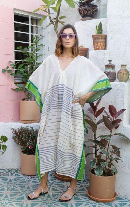 Two Caftan - White Stripe/Green Trim