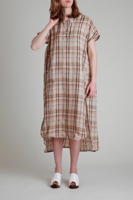 Moskiddos Tonal Plaid Short Sleeve Linen Dress - Brown