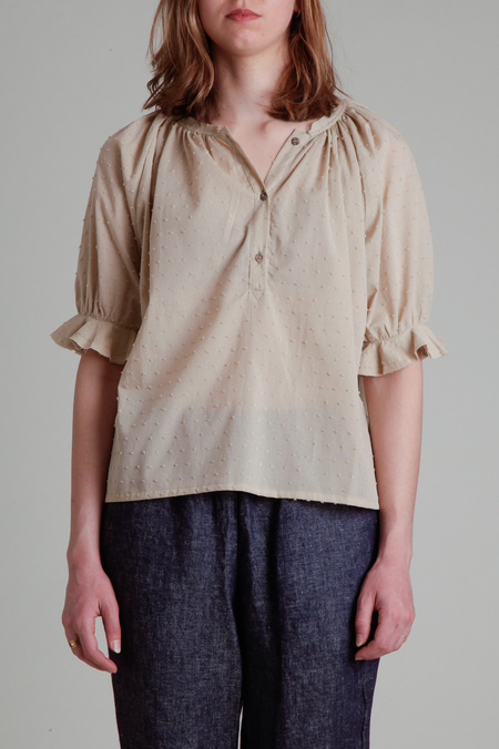 Moskiddos Swiss Dot Cotton Blouse with Puff Sleeves - Beige