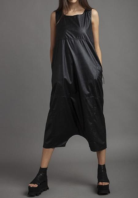 NostraSantissima Cropped Drop Seat Leather Look Jumpsuit - black