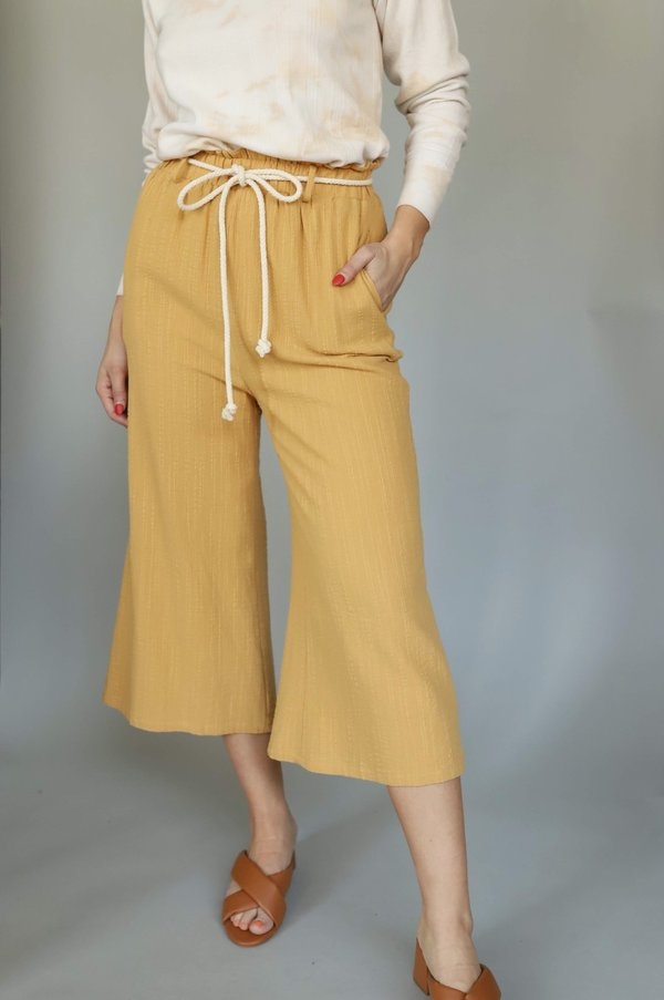 Lush Mustard Rope Belt Culotte Pants