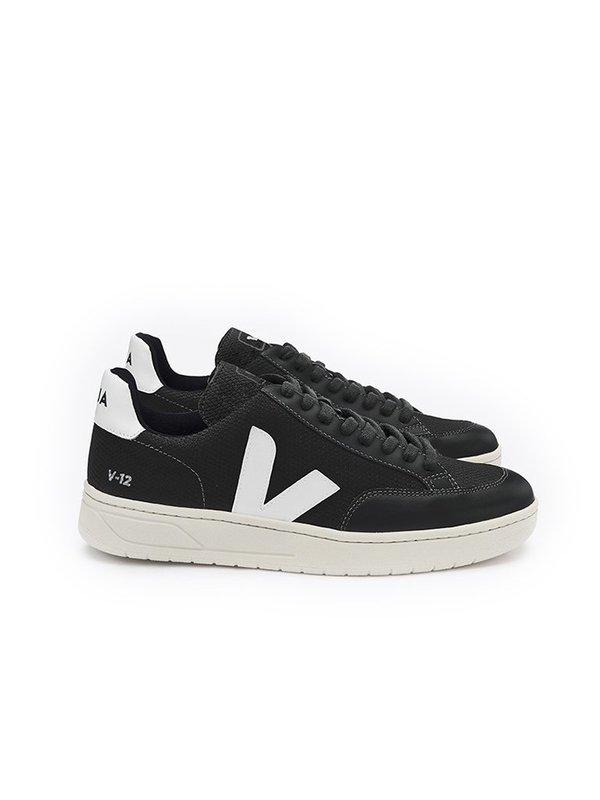 VEJA V-12 Mesh Sneaker - Black/Black