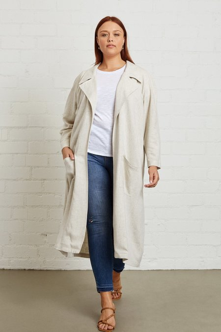 White Label Linen Cary Trench - Natural