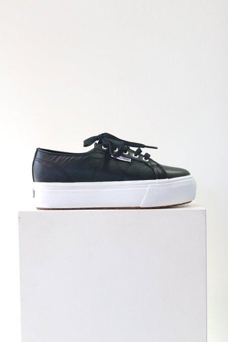Superga 2790 Platform Shoes in Black Leather