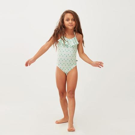 Oeuf NYC Oeuf Baby And Child Ruffle Halter Swimsuit Green Leek Print