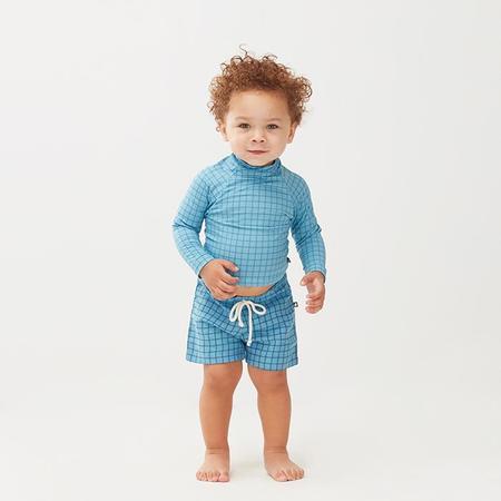 kids Oeuf NYC Swim Top - Blue Check Print