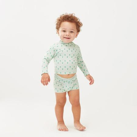 Oeuf NYC Oeuf Baby And Child Swim Top Green Leek Print