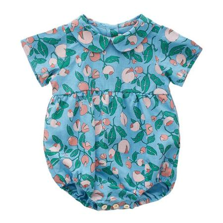kids Oeuf NYC Short Sleeved Romper - Blue Floral Print