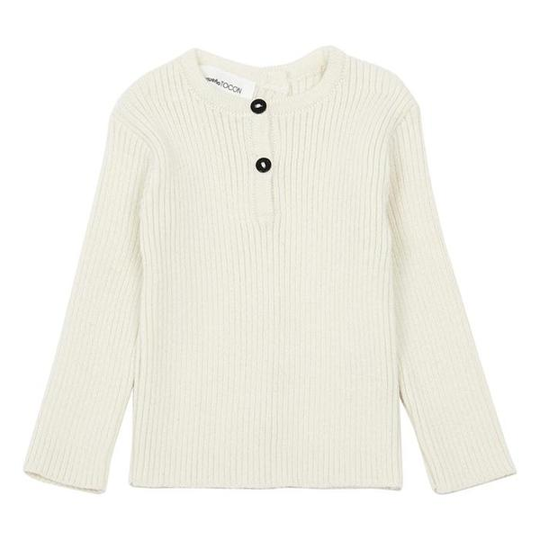 kids Pequeno Tocon Baby Ribbed Knit Henley Sweater - Natural Cream