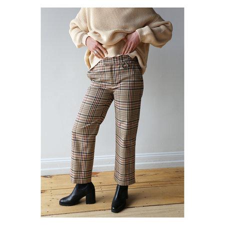 NOMIA Cropped Slim Trouser - Tan Multi Plaid