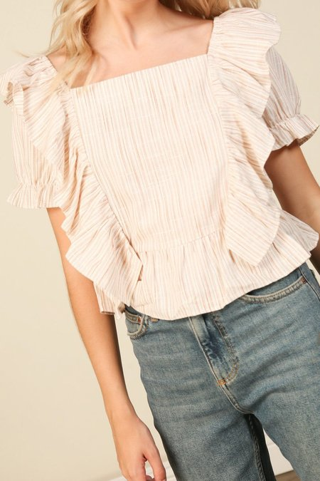 Line & Dot Lara Ruffle Short Sleeve Top - Cream/Ivory