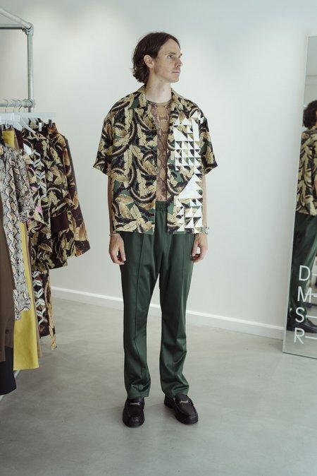 CMMN SWDN Kim Geometric Camp Collar Shirt - Leaf Green