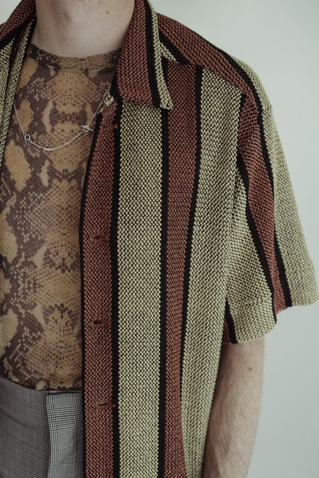 CMMN SWDN Shiny Lurex Wes Knitted Shirt