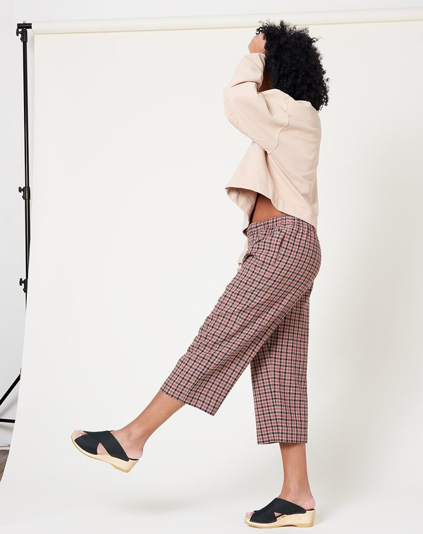 6397 Wide Leg Pull On Pant - Red Check