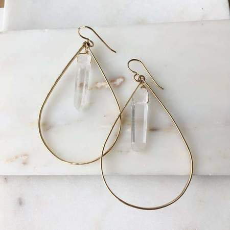 Token Jewelry Crystal Point Hoop Earrings - 14K Gold
