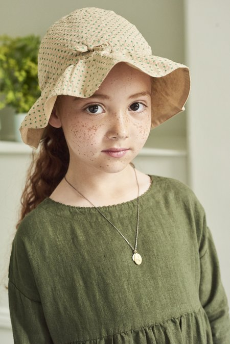 Kids Caramel Chiswick Sunhat - Green Polka Dot