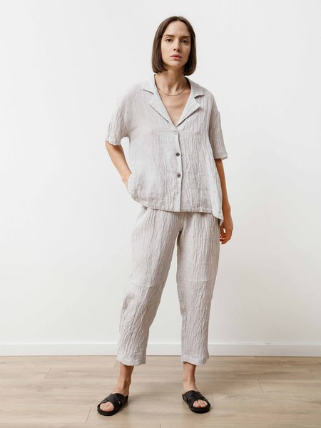 Priory Crinkle Linen Bowling Shirt - Silver