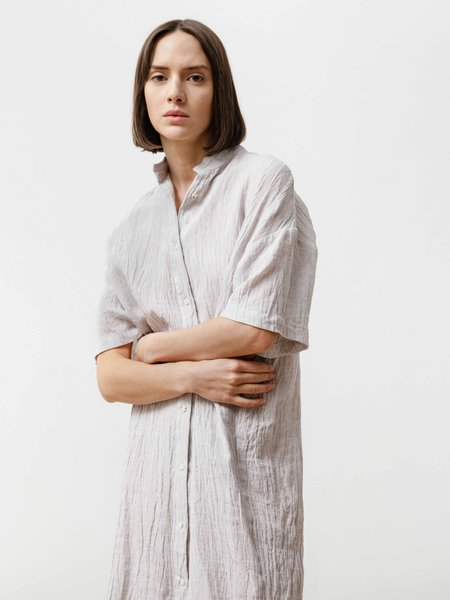 Priory Crinkle Linen Tenn Dress - Silver