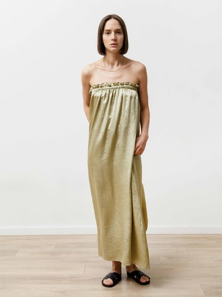 Priory Crushed Slinky Tube Dress - Pistachio