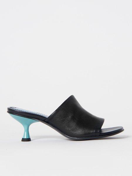 Nicole Saldana Susan Mule With Blue Heel - Black