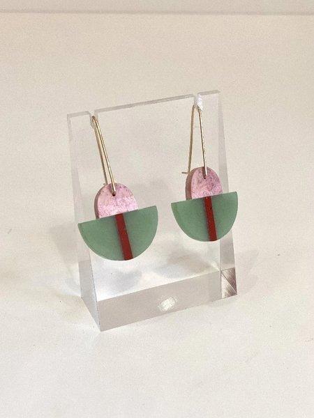 ALISON JEAN COLE Triple Stone Earrings with Rhodonite & Jasper & Aventurine