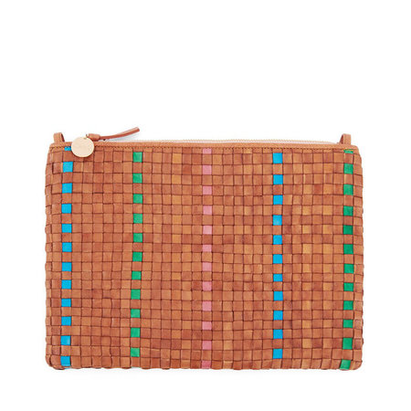 Clare V. Flat Clutch with Tabs Woven Leather